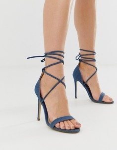 Джинсовые туфли на каблуке со шнуровкой Missguided - Синий