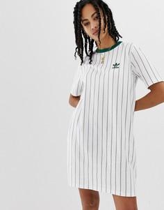 Белое чайное платье с зелеными полосками adidas Originals - Зеленый