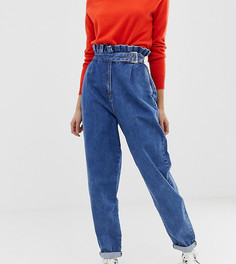Выбеленные джинсы бойфренда в винтажном стиле с отделкой на поясе и пряжкой ASOS DESIGN Tall - Синий