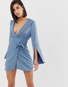 Светло-синее платье мини с поясом оби Lavish Alice - Синий