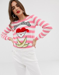 Джемпер в полоску с аппликацией пиратки Love Moschino - Розовый