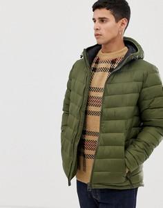 Дутая куртка цвета хаки с капюшоном Esprit - Зеленый