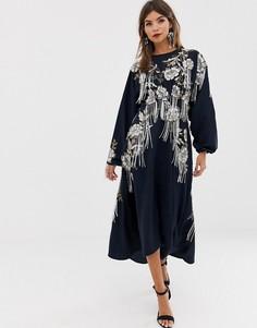 Платье миди с открытой спиной и отделкой бусинами ASOS EDITION - Мульти