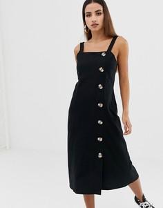 Платье-сарафан миди с крупными пуговицами ASOS DESIGN - Черный