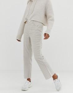 Желтовато-серые вельветовые расклешенные джинсы укороченного кроя в клетку ASOS DESIGN Egerton - Коричневый