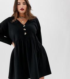 Свободное платье мини с V-образным вырезом и пуговицами из искусственного рога ASOS DESIGN Curve - Черный