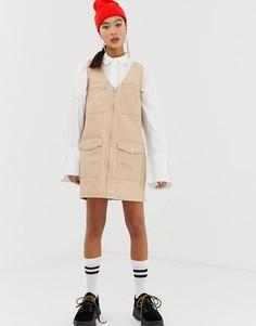 Джинсовое платье мини в стиле милитари COLLUSION - Коричневый