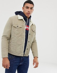 Бежевая вельветовая куртка с меховым воротником и подкладкой Levis - Бежевый Levis®