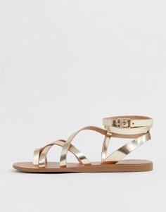 Золотистые кожаные сандалии с ремешками ALDO Gludda - Золотой