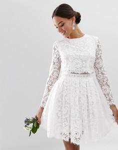 Кружевное свадебное платье мини ASOS EDITION - Белый