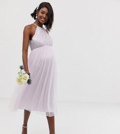 Сиреневое платье миди из тюля с халтером и пайетками Maya Maternity Bridesmaid - Фиолетовый