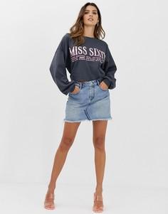 Джинсовая мини-юбка с необработанным краем Miss Sixty - Синий