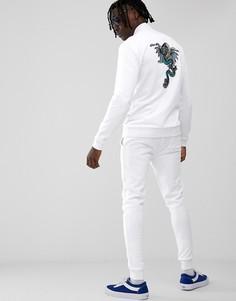Спортивный костюм скинни с вышитым драконом ASOS DESIGN - Белый