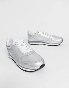 Серебристые кожаные кроссовки с логотипом Emporio Armani - Серебряный