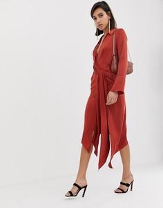 Атласное платье-рубашка миди с поясом ASOS DESIGN - Коричневый