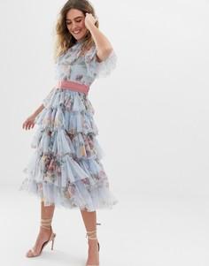 Голубое ярусное платье миди из тюля с цветочным принтом и поясом Needle & Thread - Синий