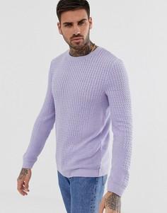Сиреневый облегающий легкий джемпер вязки в косичку ASOS DESIGN - Фиолетовый