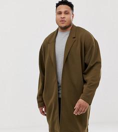 Легкое свободное пальто из трикотажа коричневого цвета ASOS DESIGN Plus - Коричневый