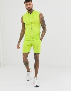 Ярко-зеленый спортивный костюм с худи на молнии без рукавов и облегающими шортами ASOS DESIGN - Зеленый