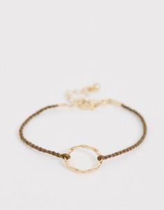 Браслет-шнурок цвета хаки с золотистой подвеской-кольцом ASOS DESIGN - Золотой