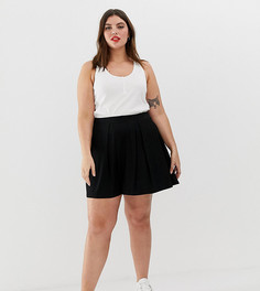 Мини-юбка со складками ASOS DESIGN Curve - Черный