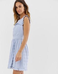Короткое приталенное платье с вышивкой Naf Naf - Синий