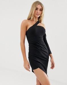 Асимметричное платье миди с одним рукавом и вырезом Lavish Alice - Черный