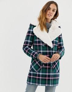 Пальто в клетку с искусственным мехом на воротнике Naf Naf - Мульти