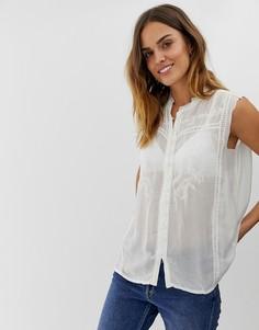 Рубашка без рукавов с отделкой кружевом Naf Naf - Белый