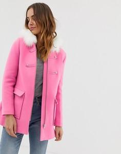 Розовое пальто с отделкой искусственным мехом Naf Naf - Розовый