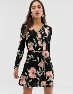 Чайное платье с цветочным принтом River Island - Черный