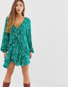 Платье с цветочным принтом и оборкой Free People - Зеленый