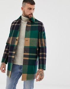 Зеленое пальто в клетку ASOS DESIGN - Зеленый