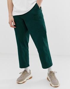 Темно-зеленые брюки карго из плотной саржи ASOS WHITE - Зеленый