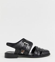 Кожаные туфли на плоской подошве для широкой стопы ASOS DESIGN Minister - Черный
