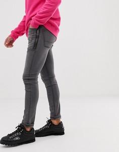 Черные джинсы скинни с молниями ASOS DESIGN - Черный