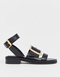 Кожаные сандалии ASOS DESIGN Forever - Черный