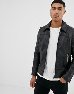 Приталенная кожаная куртка Bolongaro Trevor - Черный