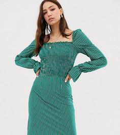 Платье в тонкую полоску с пышными рукавами Glamorous Tall - Зеленый