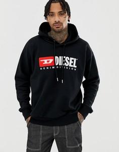 Черный свитшот с капюшоном и логотипом Diesel S-Division - Черный
