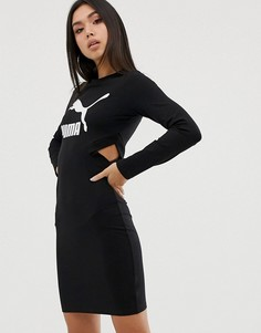 Черное облегающее платье с логотипом Puma classics - Черный
