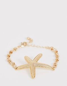 Золотистый браслет-цепочка с подвеской в виде морской звезды ASOS DESIGN - Золотой