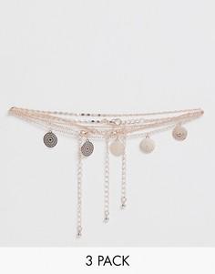 3 ожерелья с подвесками Miss Selfridge - Золотой