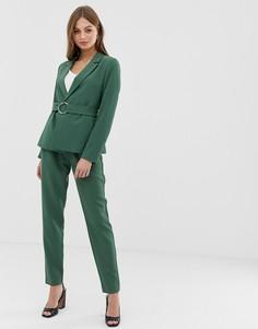 Зауженные брюки с поясом Vila - Зеленый