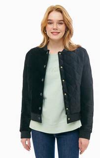 Черная вельветовая куртка-бомбер на кнопках Tommy Hilfiger