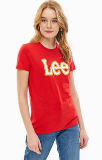 Красная хлопковая футболка с принтом Lee