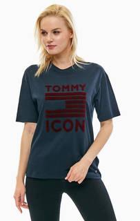 Хлопковая синяя футболка с принтом Tommy Hilfiger