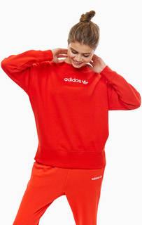 Красный свитшот с логотипом бренда Adidas Originals