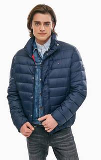 Демисезонная синяя куртка с высоким воротом Tommy Jeans