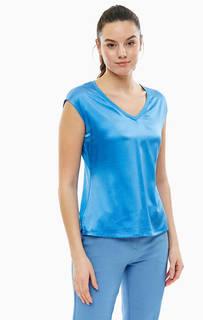 Синяя шелковая футболка Comma